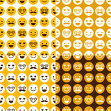 Set of seamless pattern of cheerful and happy smileys Stock Images