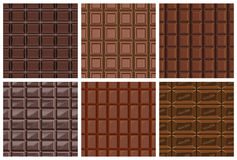 Set of seamless pattern with chocolate texture Royalty Free Stock Photo