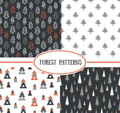 Set of seamless pattern with Christmas trees Royalty Free Stock Photo