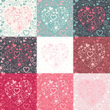 Set of seamless pattern with colorful hearts Stock Photo