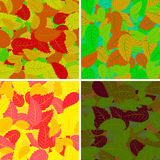 Set of seamless pattern with colorful leaves Royalty Free Stock Image