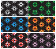 Set of seamless pattern with colour cornflowers on black background Stock Photos