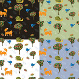 Set of 4 seamless pattern with cute forest animals for kids. Background with seamless patterns.Decoration with cute animals for kids stock illustration