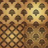 Set of  Seamless Pattern  In Damask style. Royalty Free Stock Images