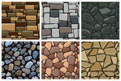 Set of seamless pattern with decorative stones Stock Image