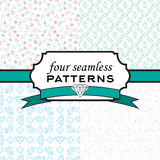 Set seamless pattern with different diamonds Stock Photo