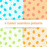 Set of seamless pattern with Easter eggs and polka dots Royalty Free Stock Image