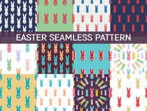 Set of 12 Seamless pattern Easter greeting with bunnies. Holiday background Royalty Free Stock Images