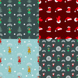 Set seamless pattern. EPS 10  illustration. used for printing, websites, design, ukrasheniayya, interior, fabrics, etc. Chri. Stmas theme A set of four patterns Stock Photo