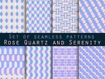 Set seamless pattern in ethnic style. Tribal seamless texture. Seamless pattern in hippie style. Rose quartz and serenity violet. Set seamless pattern in ethnic Royalty Free Stock Photo