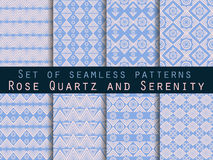 Set seamless pattern in ethnic style. Tribal seamless texture. Seamless pattern in hippie style. Rose quartz and serenity violet c Stock Images