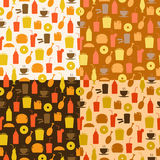 Set of seamless pattern of fast food icons Stock Photos