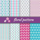 Set seamless pattern with flowers and bugs Stock Image