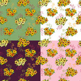 Set of seamless pattern with flowers. Decorative background with illustration of daisy flowers royalty free illustration