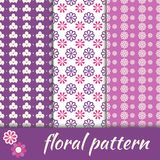 Set seamless pattern with flowers Royalty Free Stock Photography