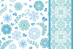 Set of seamless pattern with flowers with snowflakes and border, fantasy floral endless pattern. Vector illustration Royalty Free Stock Image