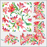 Set with seamless pattern, frieze, corner and other elements. Royalty Free Stock Image