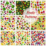Set of seamless pattern fruits background Stock Photography