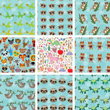 Set of 9 seamless pattern with funny animals on Stock Image