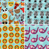Set 4 Seamless pattern with funny cute animal face Royalty Free Stock Photography