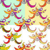 Set seamless pattern with funny dances Caribbean couple of parro. Ts vector illustration Royalty Free Stock Photography