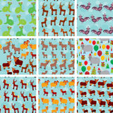 Set of 9 seamless pattern with funny farm animals Royalty Free Stock Photos