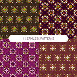 Set of Seamless Pattern. Set of Geometric seamless Pattern with cute simple colorful elements . Floral design. Perfect for wallpapers, textile, wrapping papers Royalty Free Illustration