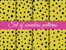 Set seamless pattern with geometric figures. Squares, triangles, hexagons and stars. Wrapping paper. Royalty Free Stock Photography