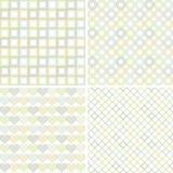 Set of seamless pattern with geometric shapes. Collection of seamless pattern with circles, squares, hearts and rhombuses Royalty Free Stock Photo