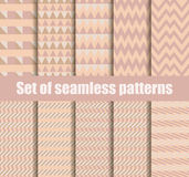 Set seamless pattern with geometric shapes. Beige geometric shapes in the background. Vector Royalty Free Stock Images