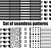 Set seamless pattern with geometric shapes. Black and white geometric shapes in the background. Vector Royalty Free Stock Image