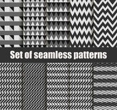 Set seamless pattern with geometric shapes. Black and white geometric shapes in the background. Vector Royalty Free Stock Photography