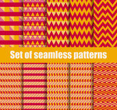 Set seamless pattern with geometric shapes. Yellow and red geometric figures in the background. Vector Royalty Free Stock Photos