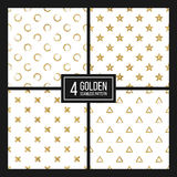 Set of seamless pattern gold glitter polka dots, triangle, star, cross Royalty Free Stock Photos