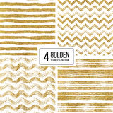 Set of seamless pattern  gold glitter stripes, zigzag chevron, wavy stripe Royalty Free Stock Photos