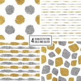 Set of seamless pattern  gold and silver stripes, polka dots, mosaic spots Stock Images
