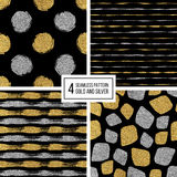 Set of seamless pattern  gold and silver stripes, polka dots, mosaic spots Royalty Free Stock Images