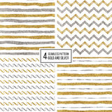 Set of seamless pattern gold and silver stripes, zigzag chevron, wavy stripe Royalty Free Stock Photo