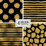 Set of seamless pattern  gold stripes or strokes, polka dots, mosaic spots Stock Image