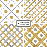 Set of seamless pattern golden silvern lines, points, cage Stock Photo