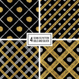 Set of seamless pattern golden silvern lines, points, cage Stock Images