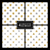 Set of seamless pattern  golden and silvern star, circle, delta, plus Stock Photos