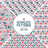 Set of seamless pattern graphic elements. Background of the Scandinavian style. Birds and flowers. red blue folklore. Set of seamless pattern graphic elements Royalty Free Stock Photo
