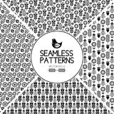 Set of seamless pattern graphic elements. texture of the Scandinavian style. Birds and flowers. Black and white folklore. Set of seamless pattern graphic Royalty Free Stock Photography