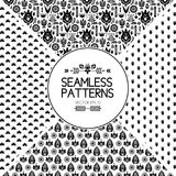 Set of seamless pattern graphic elements. texture of the Scandinavian style. Birds and flowers. Black and white folklore. Set of seamless pattern graphic Stock Images
