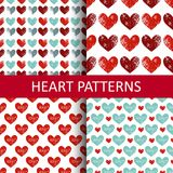Set seamless pattern with grunge hearts. Design for Valentine`s Day Royalty Free Stock Photo