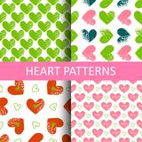 Set seamless pattern with grunge hearts. Design for Valentine`s Day Royalty Free Stock Photos