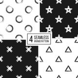 Set of seamless pattern  grunge polka dots, triangle, star, cross Royalty Free Stock Images