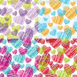 Set Seamless pattern with hearts decorative background Royalty Free Stock Images