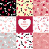 Set Seamless pattern with hearts lips  and inscription love Royalty Free Stock Photo